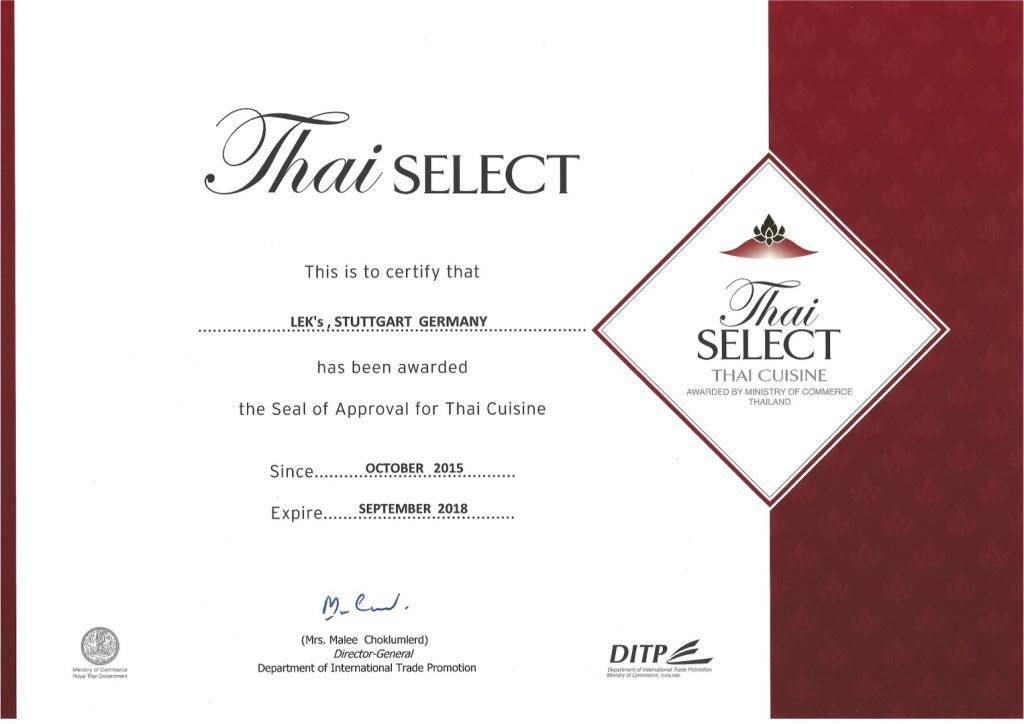 Thai Select Zertifikat - wurde mit dem Gütesiegel für Thai Cuisine ausgezeichnet